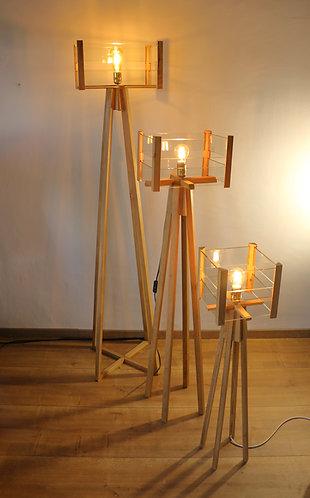 Trio de Lampes design en chêne et lamelles de verre 173cm-135cm-96cm