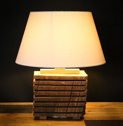 Lampe en chêne ancien et ardoise