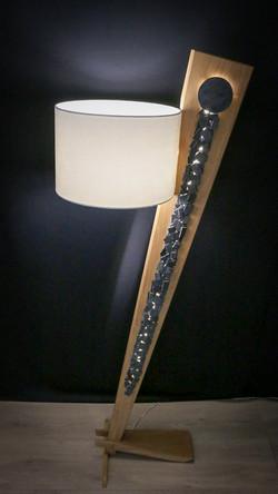 Lampe en chêne massif et ardoise