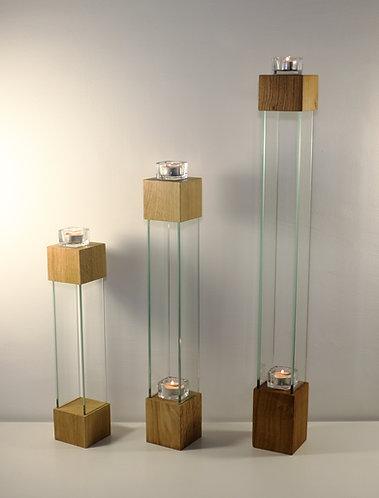Trio de Bougeoirs design en chêne et verre, 77 cm-56 cm-42 cm