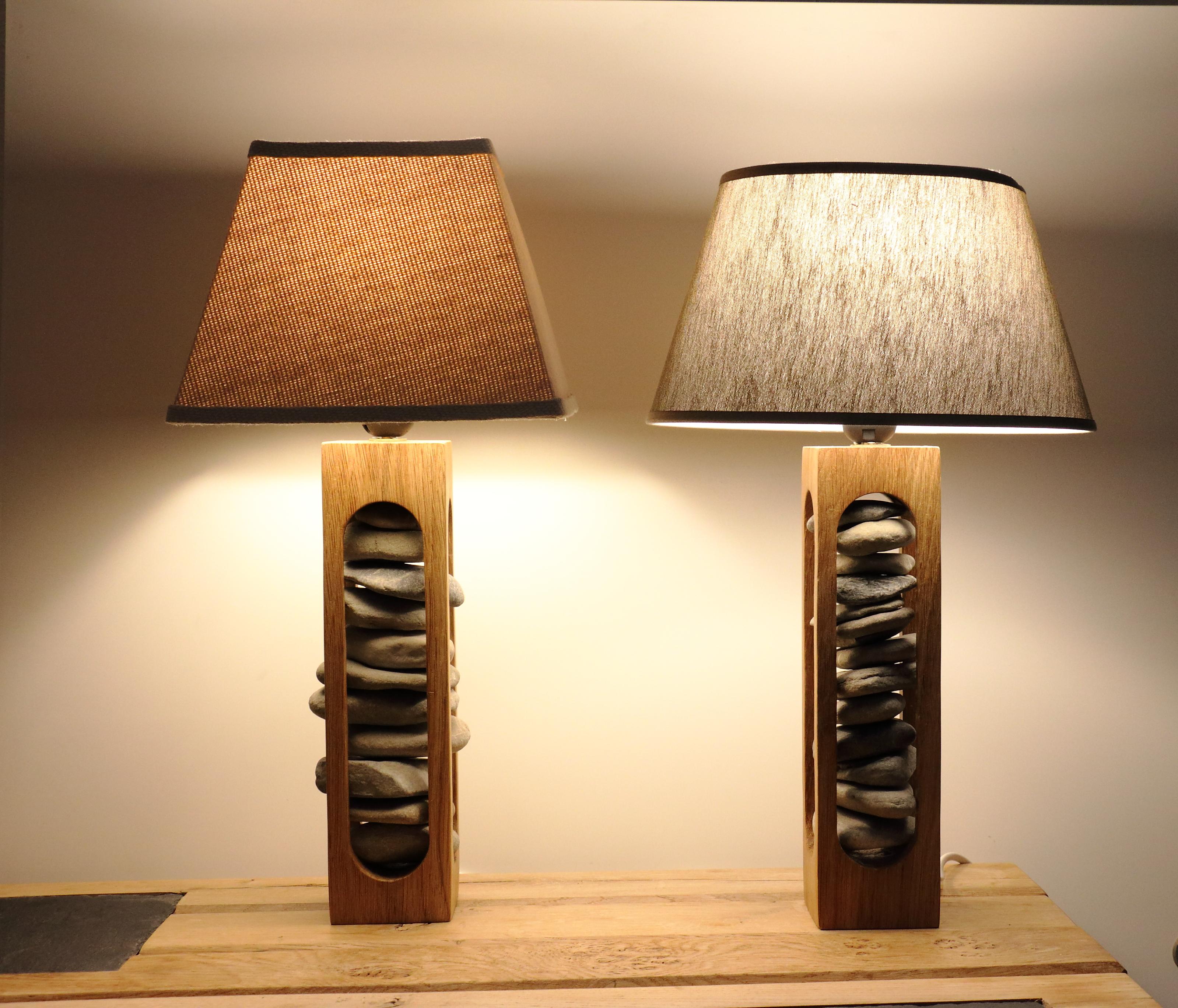 Lampes sculptées en chêne