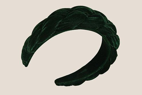 Anastasia - Serre-tête Torsade Velours Vert Sapin
