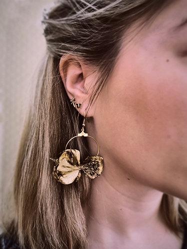 Boucles d'Oreilles en fleurs stabilisées Gold