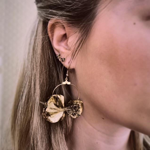 Boucles d'oreilles en fleurs stabilisées