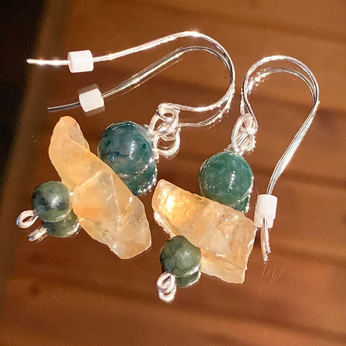 Safari Chic Citrine-Moss Agate-Jade earrings
