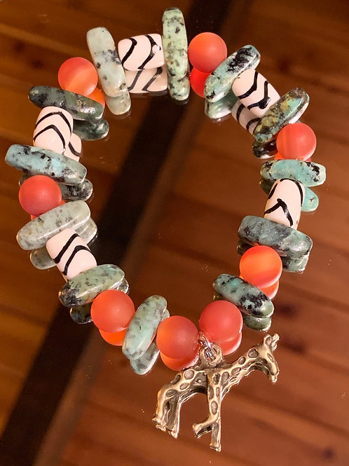 Safari Chic Turquoise-Red Agate Bone bracelet - 2