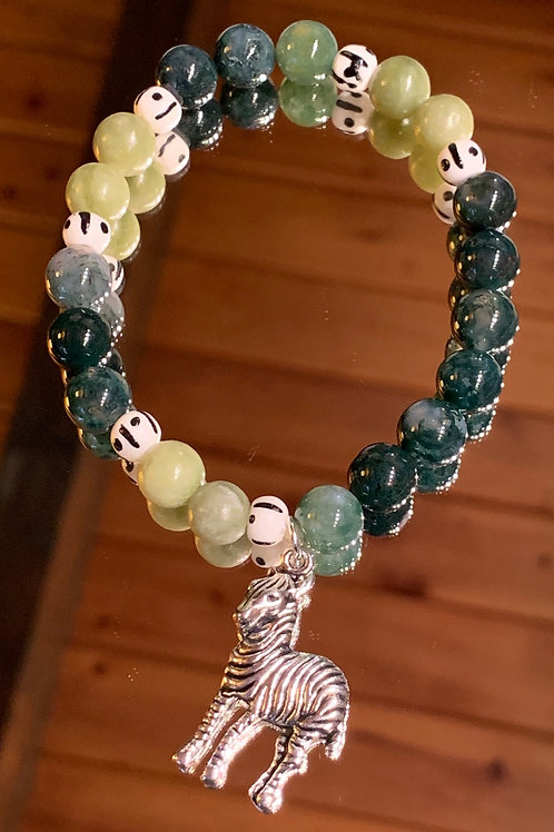 Safari Chic Moss Agate-Jade Bone bracelet