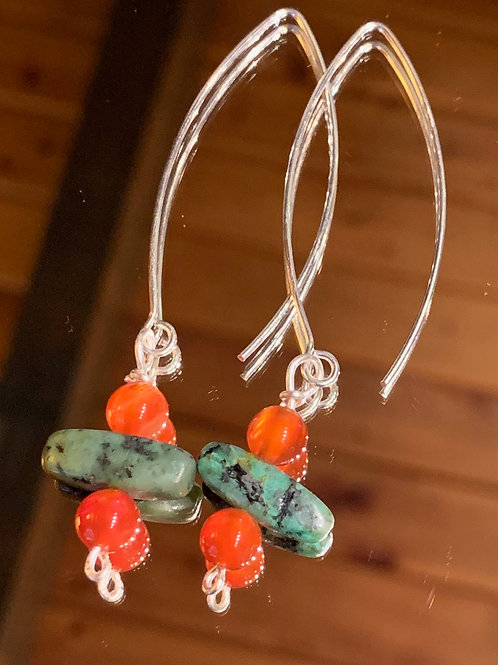 Safari Chic Turquoise-Red Agate earrings