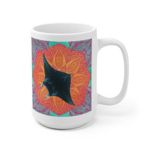 Mystic Manta Orange Mandala Mug