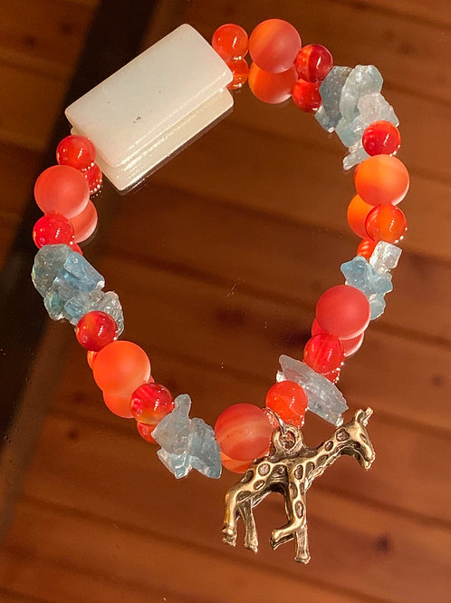 Safari Chic Red Agate-Blue Apatite-Amazonite Bone bracelet