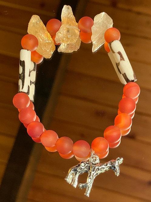 Safari Chic Citrine-Red Agate Bone bracelet