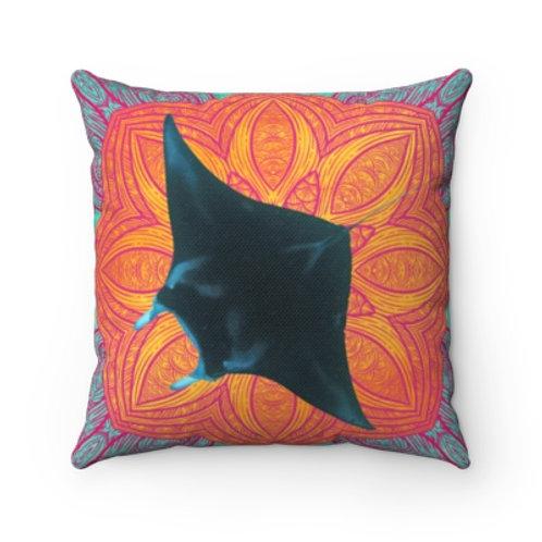 Orange Mandala Mystic Manta Throw Pillow