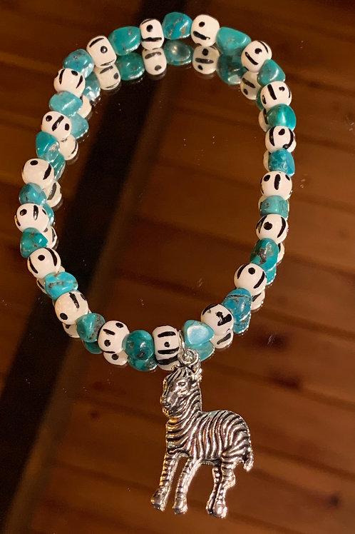 Safari Chic Turquoise Bone bracelet