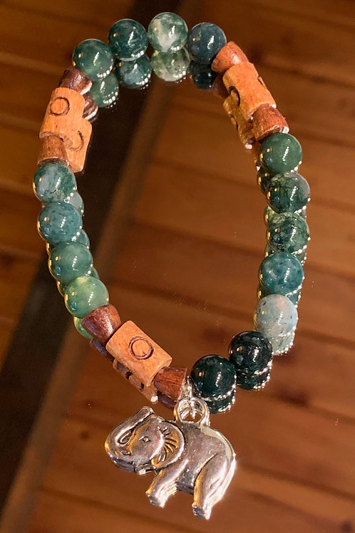 Safari Chic Moss Agate Wood bracelet