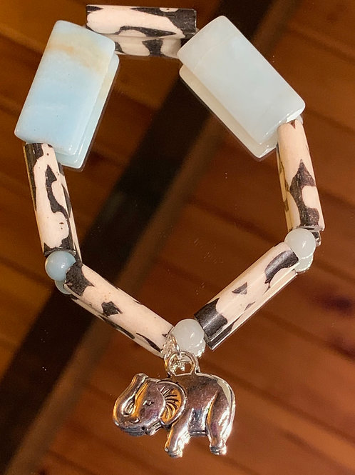 Safari Chic Amazonite Bone bracelet