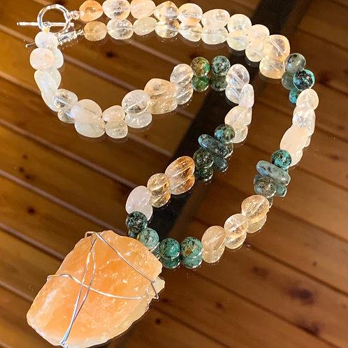 Citrine-Turquoise Goddess necklace