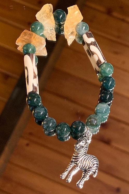 Safari Chic Citrine-Moss Agate Bone bracelet