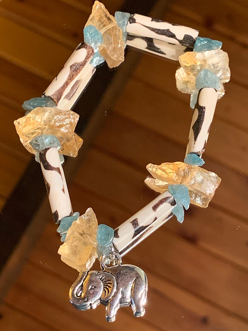 Safari Chic Citrine-Blue Apatite Bone bracelet