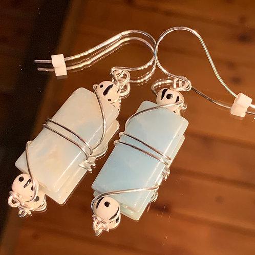 Safari Chic Amazonite Bone earrings