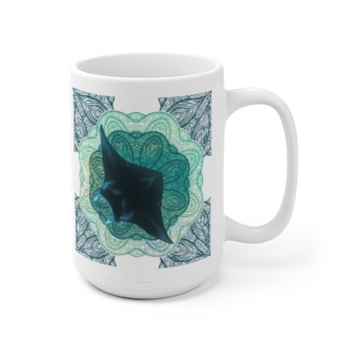 Mystic Manta Teal Mandala Mug