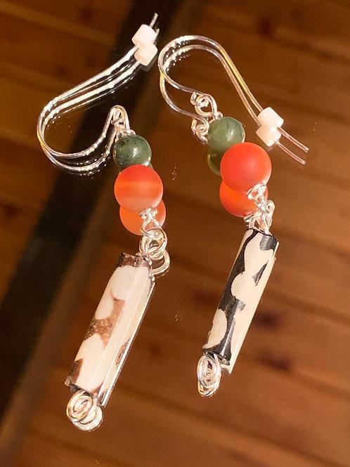 Safari Chic Red Agate-Jade Bone earrings