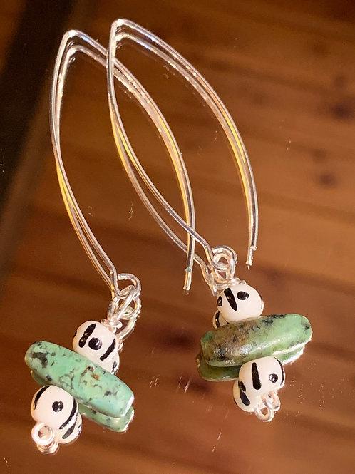 Safari Chic Turquoise Bone earrings