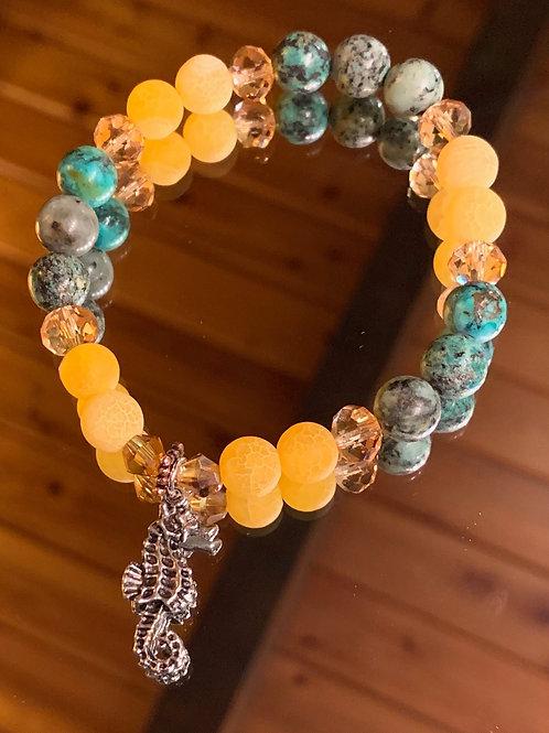 Soul Animal - Seahorse bracelet (turq/agate)
