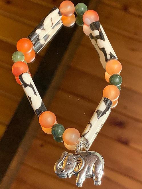 Safari Chic Red Agate-Jade Bone bracelet