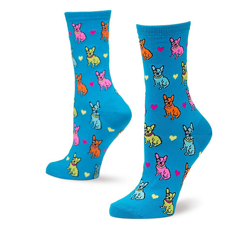 HOT SOX COLORFUL FRENCH BULL DOG WOMEN'S CREW