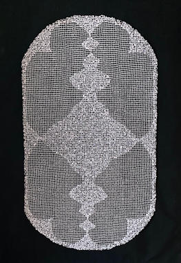 """Ruth 60""""Lx34""""W White card stock  Mounted on black polyester fabric with thread"""
