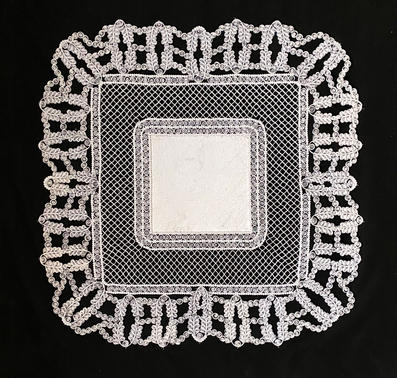 """Doily #3 36""""x36"""" Handmade paper center Mounted on black polyester fabric with thread"""