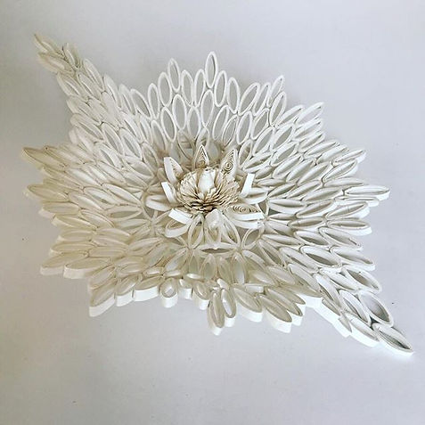 Asymmetrical and botanically inspired quilled bowl. #madeofpaper_._._._#paper #paperart #p