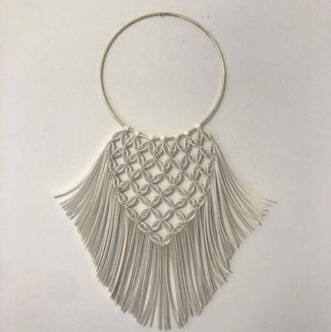 """Paper Macrame wall hanging suspended from gold ring. 21""""Lx14""""W #papermacrame_._._._#paper"""