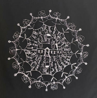 """Home Value  36"""" Diameter mounted on black polyester fabric with thread"""