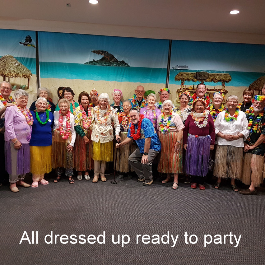 National-Seniors-Redcliffe-Group Dressed up for Hawaiian night
