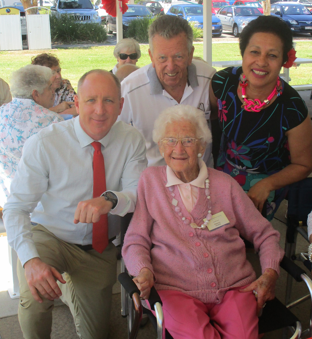 Frances with our local federal member, president Redcliffe Banch of National Seniors and our local councillor