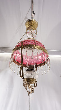 1880s Victorian Hanging Oil Lamp
