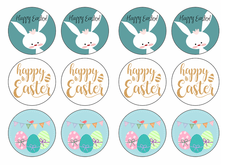 EASTER edible image cupcake toppers Quality icing sheet