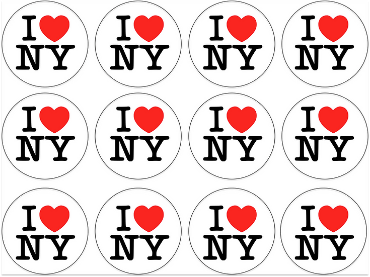 I Love new York edible image cupcake toppers Quality icing sheet