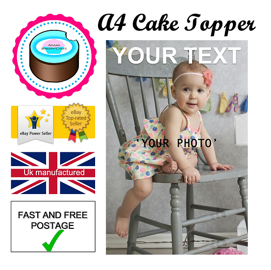 Edible Photo image A4 sheet ''your photo'' Quality icing sheet