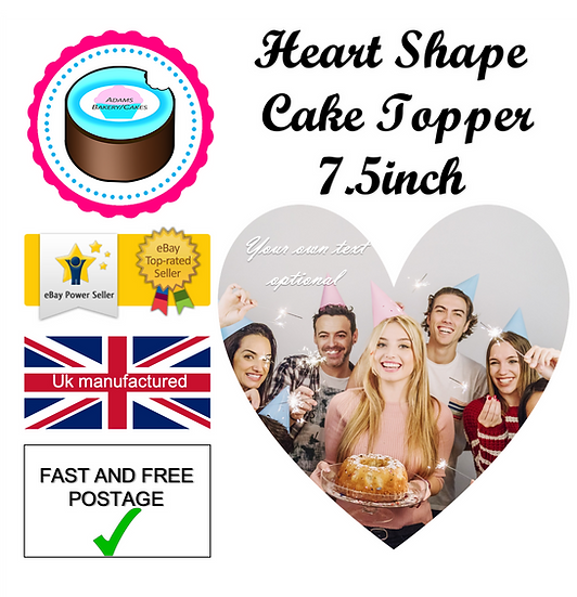 7.5inch HEART Cake Topper Quality icing sheet
