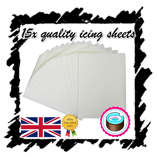 1 PACK OF 15X QUALITY PLASTIC BACKED DECOR EDIBLE ICING SHEETS