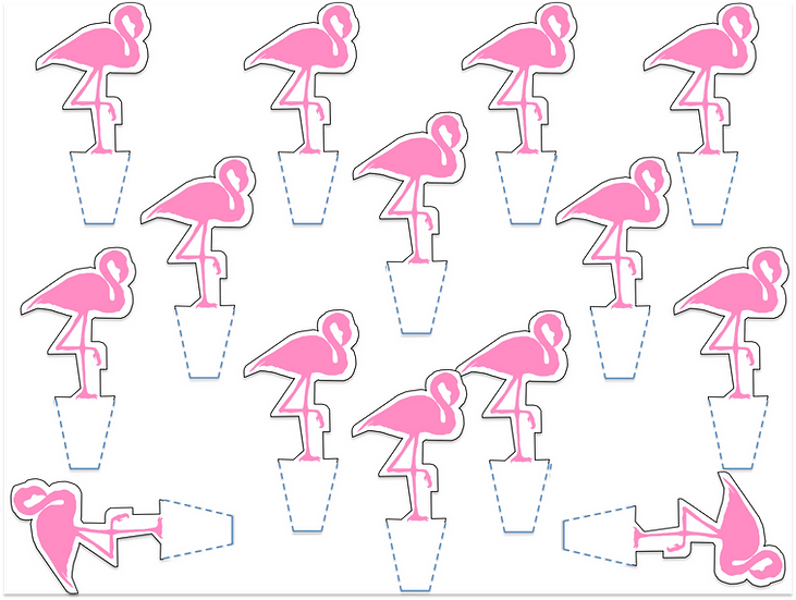 Wafer card stand up edible flamingo cupcake toppers wafer card