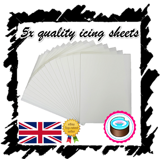 1 PACK OF 5X QUALITY PLASTIC BACKED DECOR EDIBLE ICING SHEETS