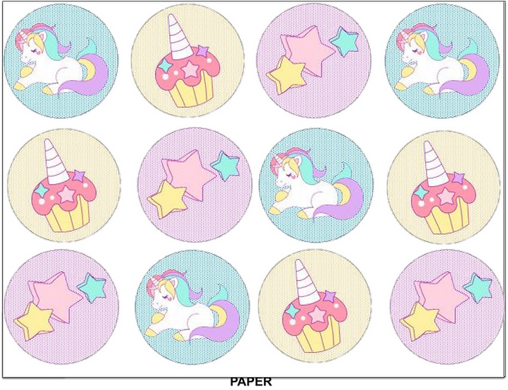 Edible image Unicorn cupcake toppers Quality icing sheet