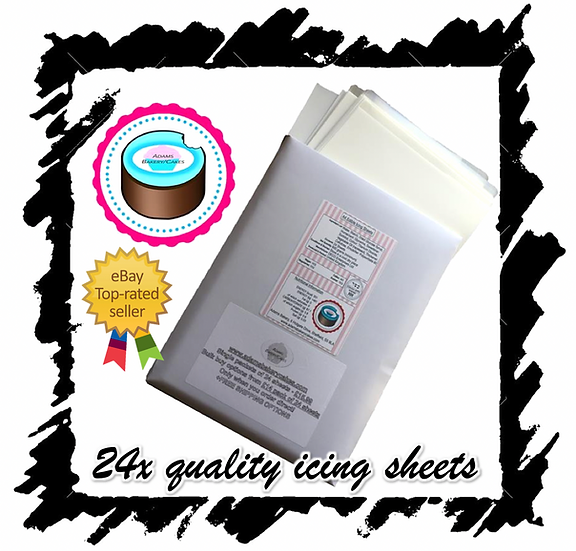 (SINGLE)X24 PACK, EDIBLE ICING SHEETS FOR PRINTING, DECOR QUALITY PLAIN BLANK A4