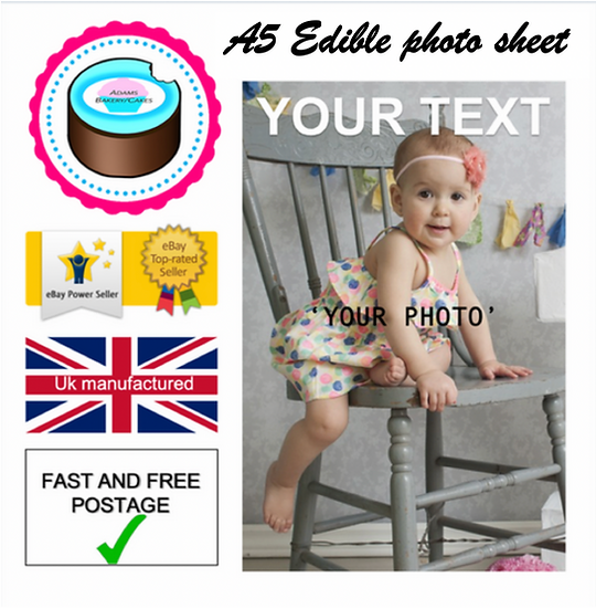 Edible Photo image A5 sheet ''your photo'' Quality icing sheet