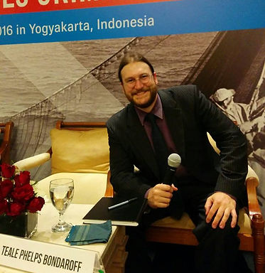 Dr. Teale Phelps Bondaroff presenting on his research on illegal fishng and organized crime at the 2016 Fish Crime Symposium in Yogyakarta, Indonesia