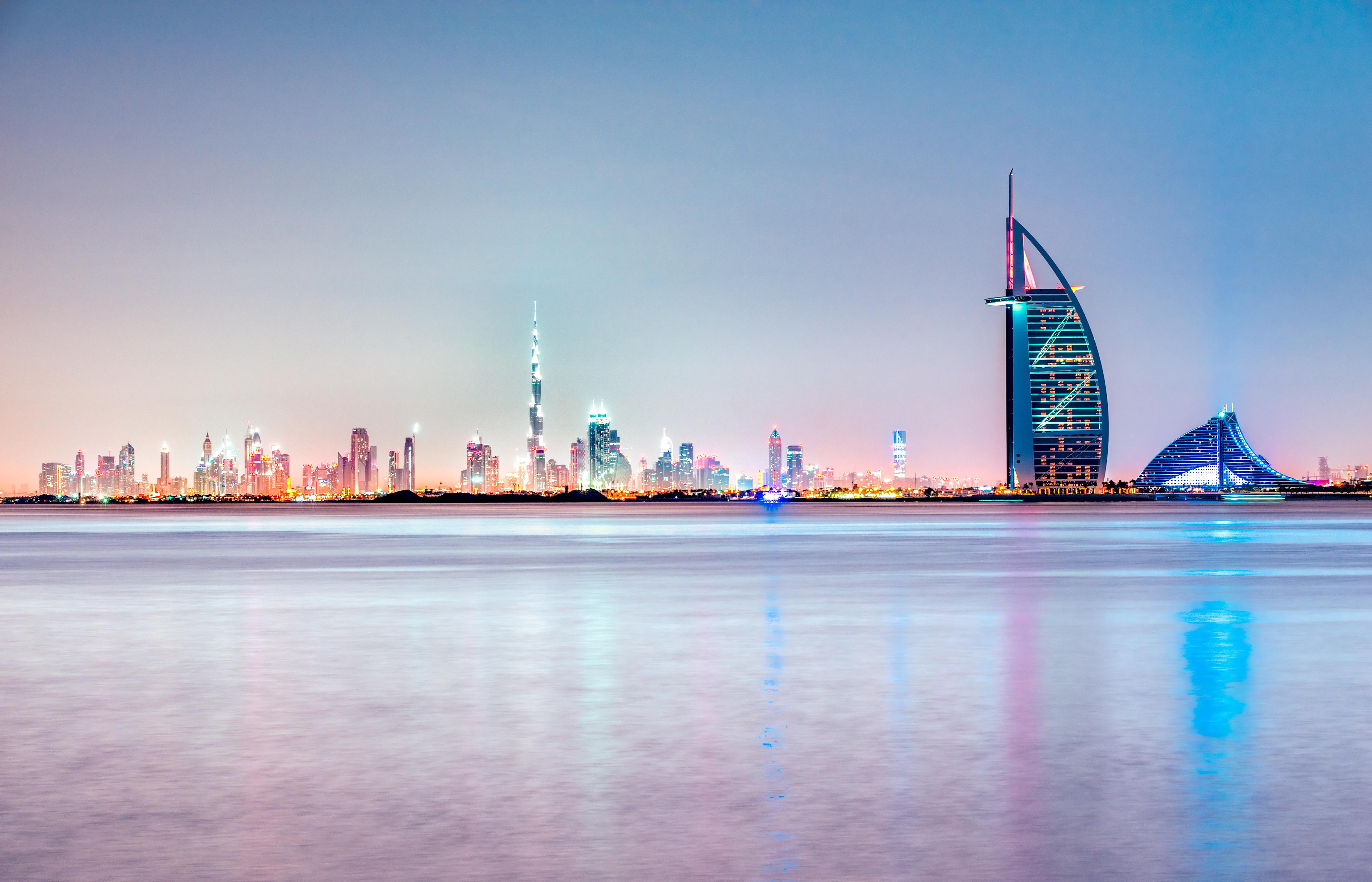 Dubai skyline at dusk, UAE