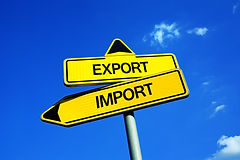Export or Import - Traffic sign with two